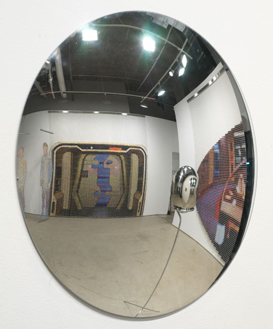 """Mirror Universe,"" partial Installation view, seen reflected in a convex mirror, works by Devorah Sperber, New York City, Work debuted in the Star Trek inspired exhibition  ""Mirror Universe"" at Caren Golden Fine Art, March 20- April 26, 2008, NYC"