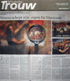 "Trouw Newspaper, Article about ""After The Last Supper"" by Devorah Sperber, Oda Park, The Netherlands, 2007"