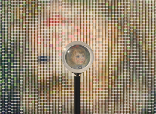 After Renoir, One of Six Eye-Centered Portraits, constructed from thousands of spools of Coats & Clark thread, by Devorah Sperber, 2--6, New  York City, Installation Art, Sculpture, NYC