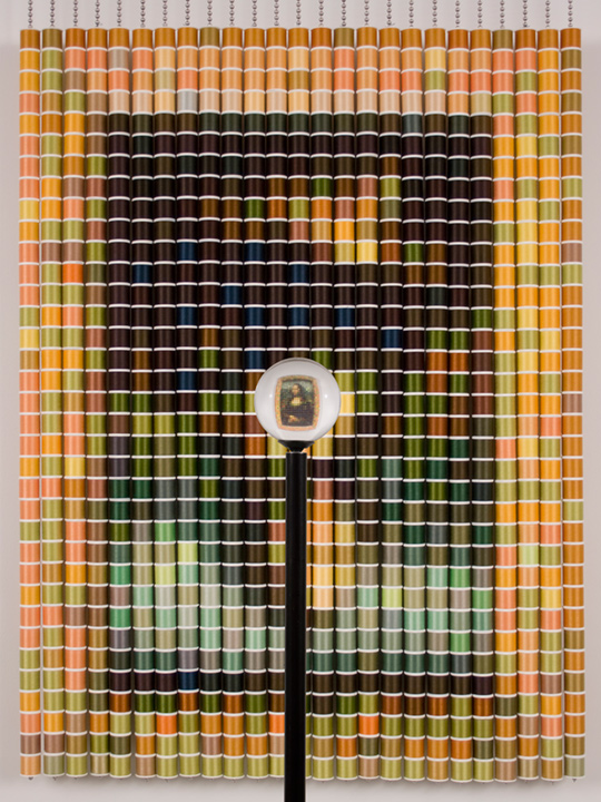 After The Mona Lisa 4, 2006, by Devorah Sperber, New York City,,  875 spools of thread, stainless steel ball chain and hanging apparatus,  clear acrylic spehre, metal stand.